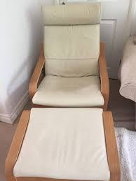 Leather Poang Chair Ikea Poang Cream Leather Chair And Footstool In Darlington