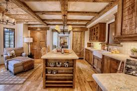 Wooden Country Kitchen - kitchen island rustic kitchen island wooden made furnished among