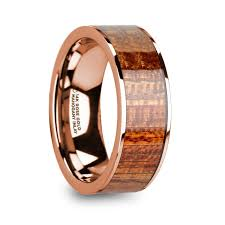 wood inlay wedding band alope 14k gold mahogany wood inlaid wedding band with