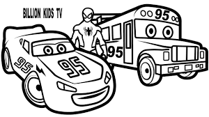 spiderman and lightning mcqueen with bus mcqueen coloring pages
