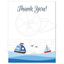 nautical flat thank you notecard with cute sailboats waves and