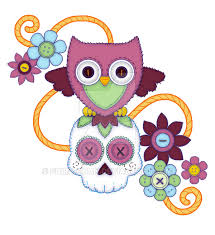 design owls buttons and sugar skulls by shira chan on