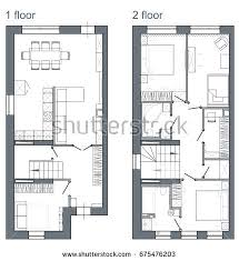 drawing plan two story apartment stock illustration 675476203