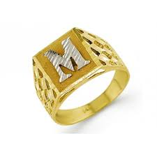 personalized gold rings new 14k two tone gold diamond cut letter m initial ring