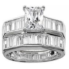 emerald cut wedding set bands that rock emerald cut sterling silver cz wedding set