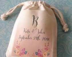 favor bags personalized floral bouquet muslin favor bag my wedding favors