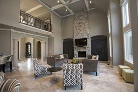 contemporary living room with loft travertine tile floors in