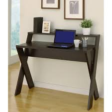 rectangle black wooden computer desk with double x bases on cream