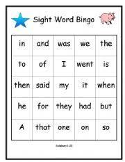 english worksheets bingo salisbury sight words 1 25