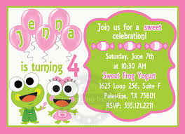 Princess Themed Birthday Invitation Cards Sweet Frog Birthday Invitation Printable 5x7 Digital File By