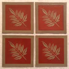 greenish gray 4 x 4 painted canvas coasters fall leaf tea red rust and