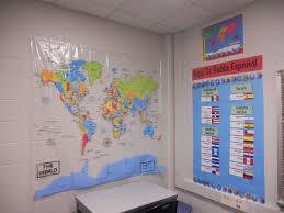 World Map Bulletin Board by Classroom Decor Secondary Spanish