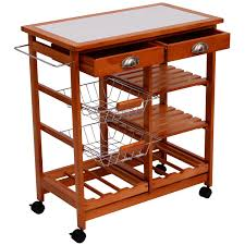 amazon com homcom rolling tile top wooden kitchen trolley