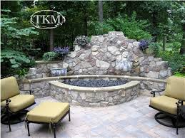 Fire Pit With Water Feature - water feature firepit and wall water features walls and water