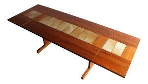 danish teak u0026 ceramic tile drop leaf dining table chairish