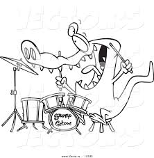 vector of a cartoon drummer gator outlined coloring page drawing