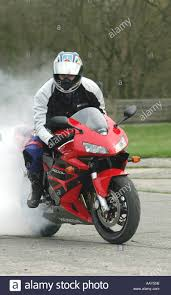 honda cbr 600 motorcycle a stuntman does a burnout on a honda cbr600rr motorcycle stock