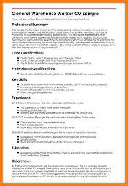 9 warehouse cv example hostess resume
