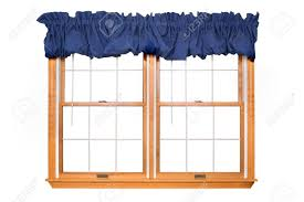 isolated double window with blue valance stock photo picture and