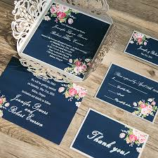 wedding invitations floral navy blue floral silver laser cut invitations ewws090 as low as