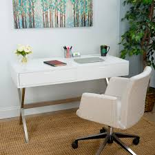 White Lacquer Desk by Porsha White Lacquer High Gloss With Brushed Stainless Steel Legs