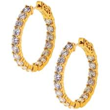 womens earrings womens inside out diamond hoop earrings 18k yellow gold 5 22 ct