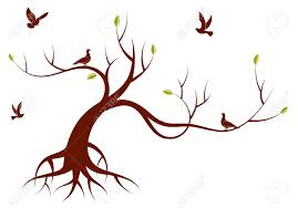 stylized tree with leafs and bird for design illustration