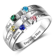 mothers rings silver images Diamondido personalized mothers rings with simulated jpg