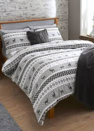 fairisle stag print brushed cotton bedding set matalan house
