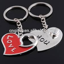 unique keychain unique heart zinc alloy metal paired key chain