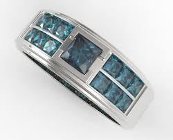 Mens White Gold Wedding Rings by Men U0027s White Gold Blue Diamonds Wedding Band Vidar Jewelry