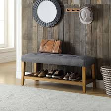 acme furniture charla gray and oak storage bench 96686 the home