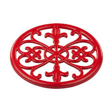 Fleur De Lis Canisters For The Kitchen by Home Basics Cast Iron Red Trivet Tr44392 The Home Depot