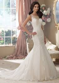 illusion neckline embroidered lace trumpet wedding dress 214207 aly