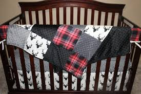 Deer Crib Sheets Baby Crib Bedding Black Buck Deer Lodge Red Black Plaid