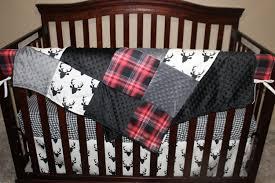 Sock Monkey Baby Bedding Baby Crib Bedding Black Buck Deer Lodge Red Black Plaid