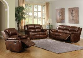 Leather Livingroom Set Two Tone Leather Sofa Set With Reclinerin White Painted Wall