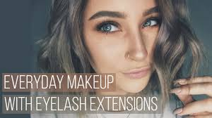 everyday makeup with eyelash extensions tutorial youtube
