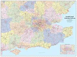 map of east uk south east postcode districts wall map co uk