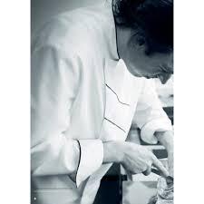 veste de cuisine professionnel veste cuisine grand chef blanc avec passepoil et rayures noir