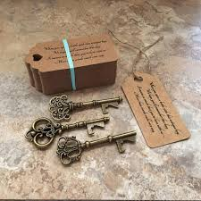 key bottle opener wedding favors skeleton key bottle openers three styles poem thank you tags