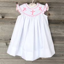pink cross smocked dress white smocked auctions