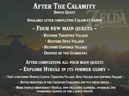 after the calamity idea for a post calamity ganon bonus quest in