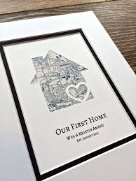 house warming wedding gift idea our first home personalized home map matted gift von handmadehq