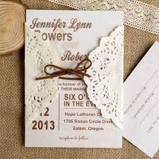 wedding invitations lace simple lace pocket brown ribbon wedding invites ewls006 as