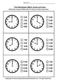 matching clocks and time worksheets worksheet 1 worksheets