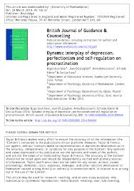 Counseling The Procrastinator In Academic Settings Pdf Dynamic Interplay Of Depression Perfectionism And Self Regulation