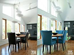 new blue tweed dining room chairs update the dining room dans le