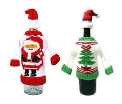 amazon com wine bottle covers christmas winter holiday knit
