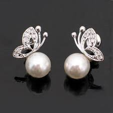 design of earrings quality womens lovely pearl rhinestone butterfly design